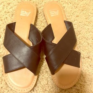 Tan and Black Sandals